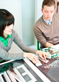 Ryan and Eiko reviewing the test prints