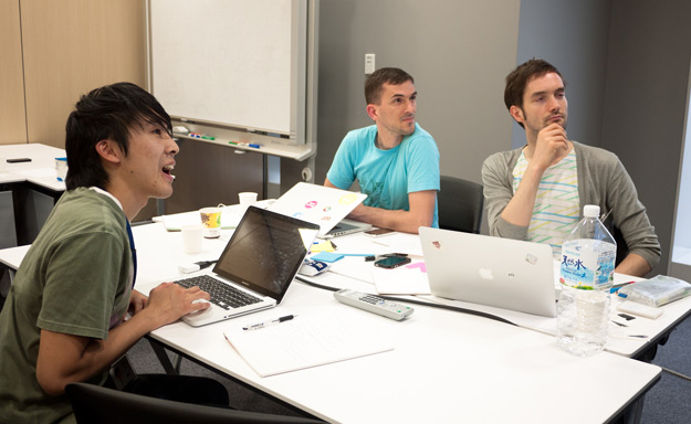 Chris Palmieri and Paul Baron in a design session with ABCLoop's Franky Chung at Open Network Lab