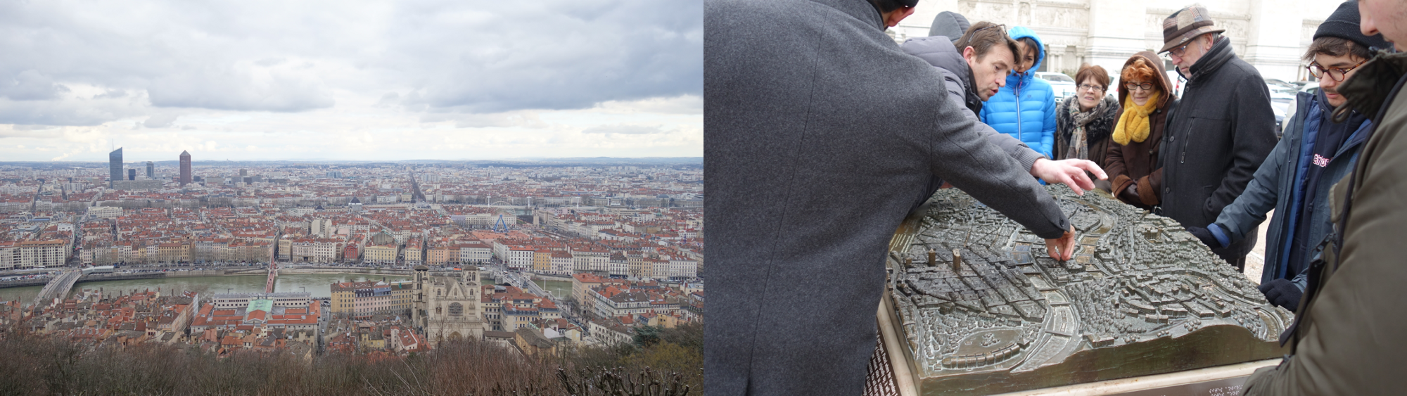 [Left] The spectacular view from Fourvière Hill in Lyon [Right] People clamoring to make sense of it.